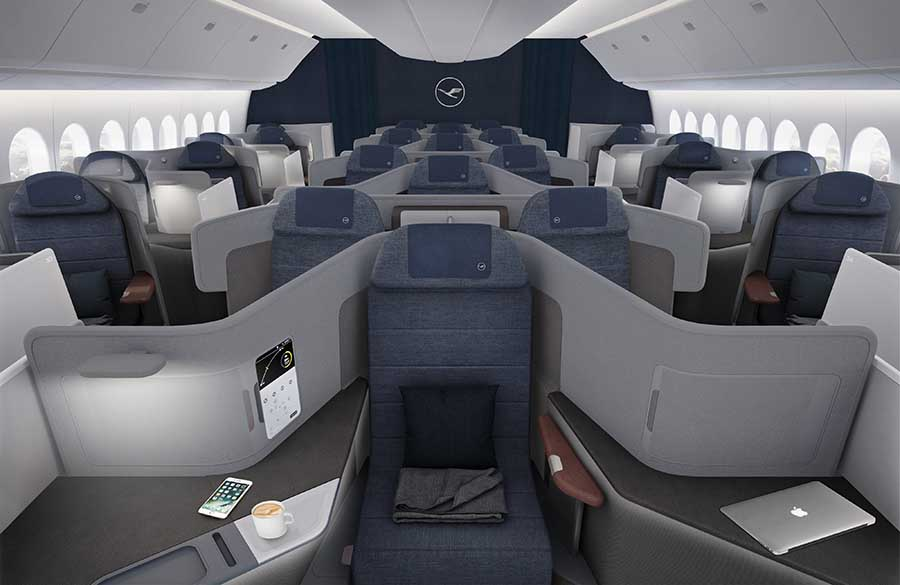 Die neue Business Class von Lufthansa wird erstmals in der Boeing 777-9 eingesetzt. Foto: Lufthansa