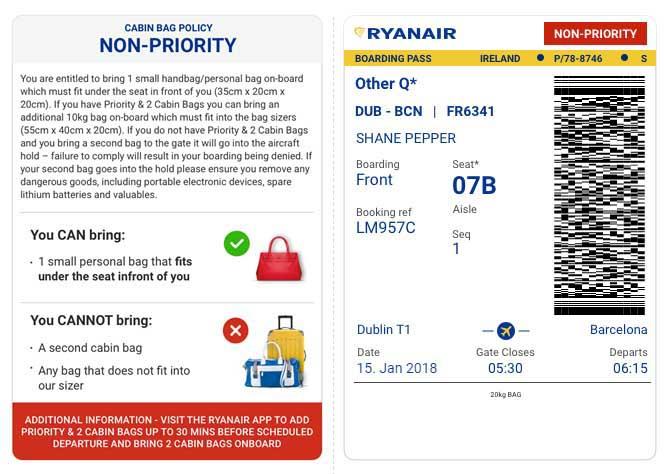Der neue Boarding Pass für Kunden, die nicht Priority fliegen. Foto: Ryanair