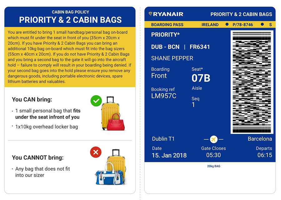 Der neue Boarding-Pass für Priority-Kunden. Grafik: Ryanair