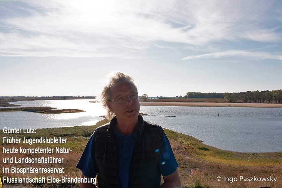 Günter Lutz: Früher Jugendklubleiter heute kompetenter Natur- und Landschaftsführer im Biosphärenreservat Flusslandschaft Elbe-Brandenburg. Foto: Ingo Paszkowsky