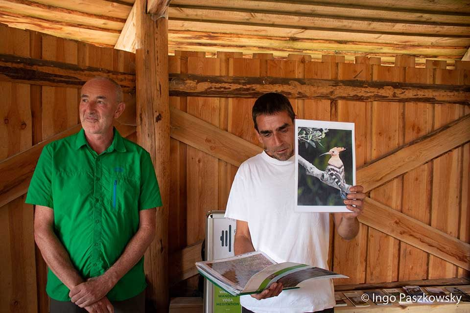 So sieht er aus der Wiedehopf. Natur- und Landschaftsführer Olaf Wolff und Andree Kienast in der Kyritz-Ruppiner Heide.